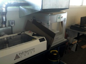 The laser cutter and 3d printer, with exhaust vents.
