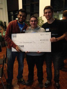The Bubblecoup team win the first place prize at Hack UCSC 2014. (Photo: Sara Isenberg)