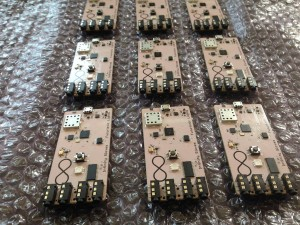 The light glove's chips are lined up and ready for programming. Each chip is a little smaller than a credit card. (Photo provided)