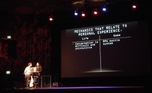 Two members of the student design team introduce their retro-styled game Introversion (photo credit: Tyler Walicek)