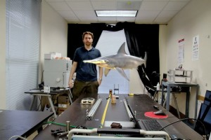 The start-up Magic Leap, using a different approach called a digital light field, could seamlessly place a swimming shark in an office setting. (Photo credit :Magic Leap)