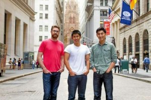 San Lorenzo Valley pals Frank Scott Krueger, left, with brothers Gabriel Otte, center, and Michael Otte on Wall Street in New York where their startup Acornapp.co participated in DreamIt Ventures Accelerator. (Contributed)