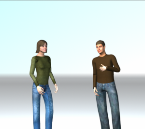 Image conversing computers: a screen shot of the avatars Hu is using to test programmed personality. (contributed)