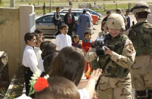 Mary Flynn, shooting video at a school in northern Iraq in 2004 (contributed)