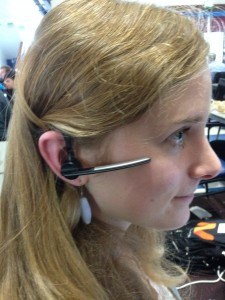 Sara Birns, UI/UX mentor and recent University of Oregon graduate, wears the Plantronics Voyager Legend.