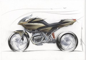 Motorcycle sketch by Darrin Caddes, Plantronics VP of Corporate Design.