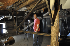 Employee from CyArk, an Oakland-based nonprofit dedicated to creating digital archives of significant cultural and historical sites around the world, scans the interior of an historic building. Photo credit: Scott Lee/CyArk