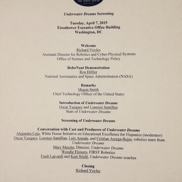 Underwater Dreams, White House program, April 7, 2015.