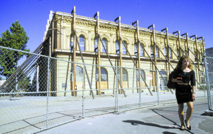 The current site of NextSpace, Pacific and Cooper, taken during renovations after the '89 earthquake. (Photo credit: Bill Lovejoy)