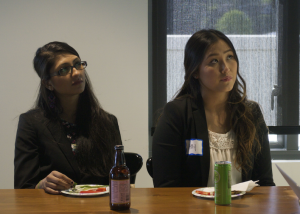 Two students from UCSC listen to the presentations from the tour. (Photo credit: Rebecca Unitt)