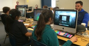 Monroe Middle School 7th grade teacher Anthoney Roelearning to play the game MinecraftEdu alongside his students for their lessonon feudal Japan and building pagodas.(Photo contributed)