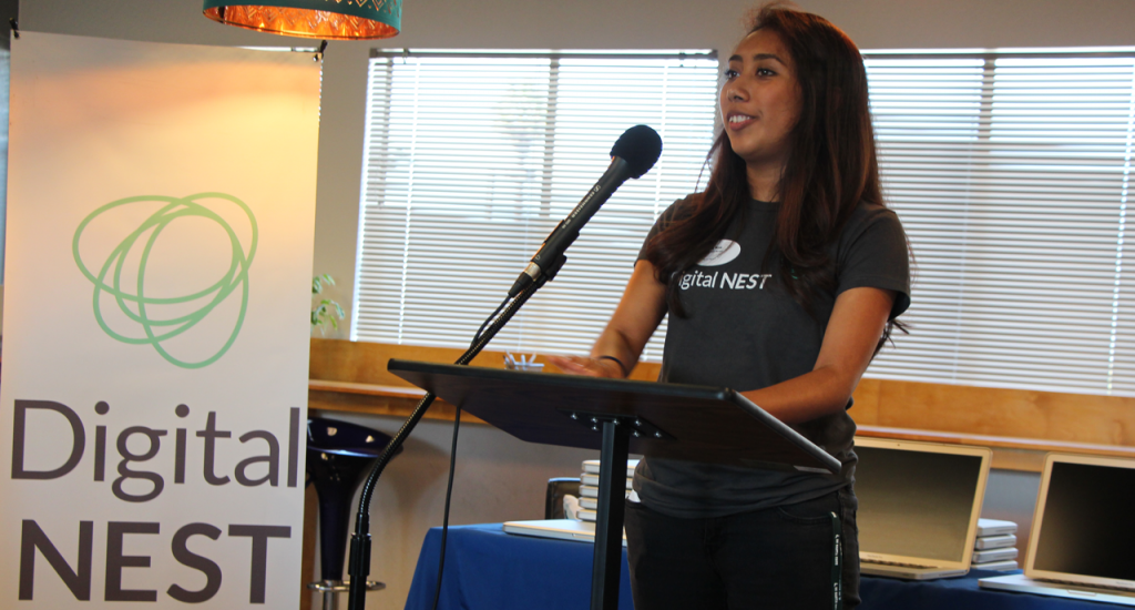 Ana Nico shared her career dreams and experiences as a member of Digital NEST, which included building a website, digital mapping, video production, visiting Silicon Valley tech companies and attending a week-long coders camp at UCSC. (Credit: Jan Janes)