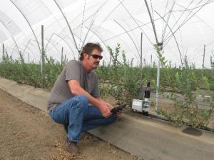 AgRite founder Russel Maridon checks a sensor in the field. (courtesy of Russel Maridon)