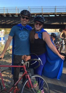Greg Pepping and Laurie Egan, San Lorenzo River Super Heroes at the first Kids Bike Party in September 2015. Pepping is executive director and Egan is stewardship coordinator for the Coastal Watershed Council.