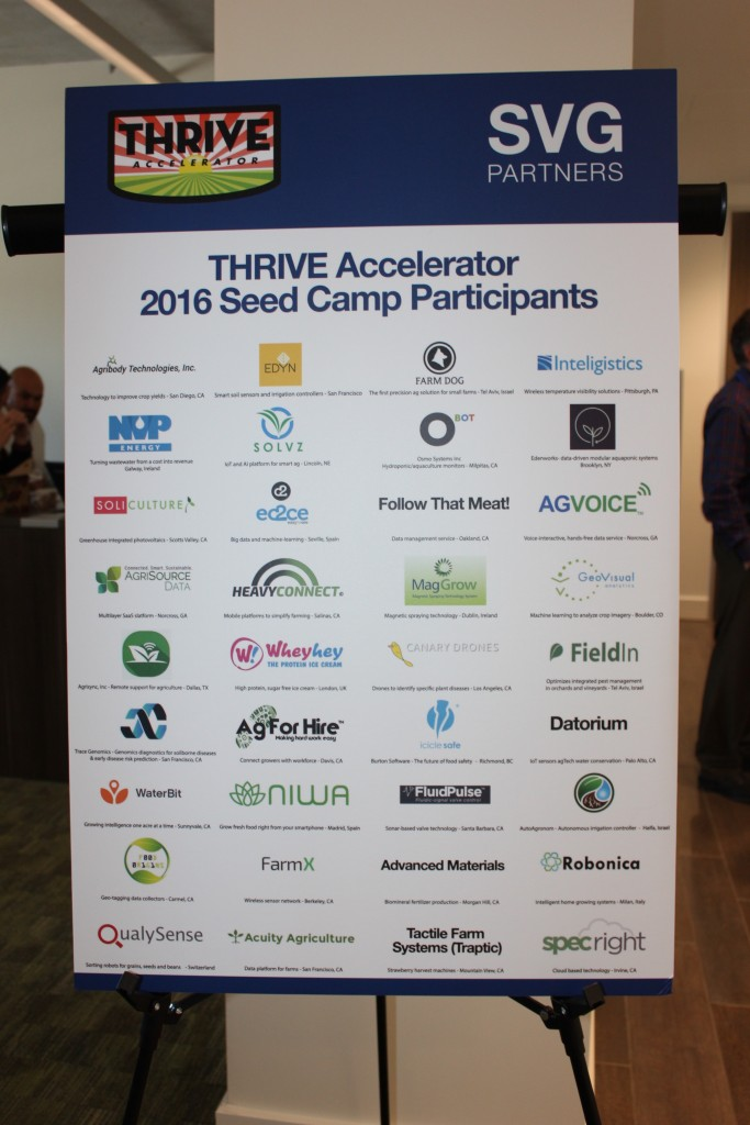 Poster at last Wednesday's Thrive Accelerator event shows the 2016 participants. Contributed.