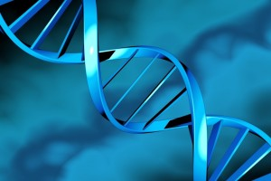 DNA double helix on a blue background