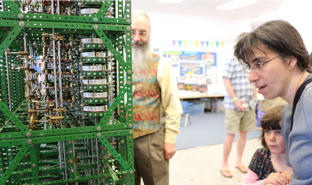 With the turn of a wheel, a replica Babbage computing system built by Tim Robinson (left) resolves another sequence. Constructed using more than 25,000 pieces, the mechanical system computes the numbers in the Four-Figure Mathematical Tables book containing values of logarithms and trigonometric functions.