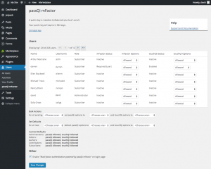 Administrator configuration options for passQi mFactor plugin for WordPress gives fine grain control of user two-factor settings. (Contributed)