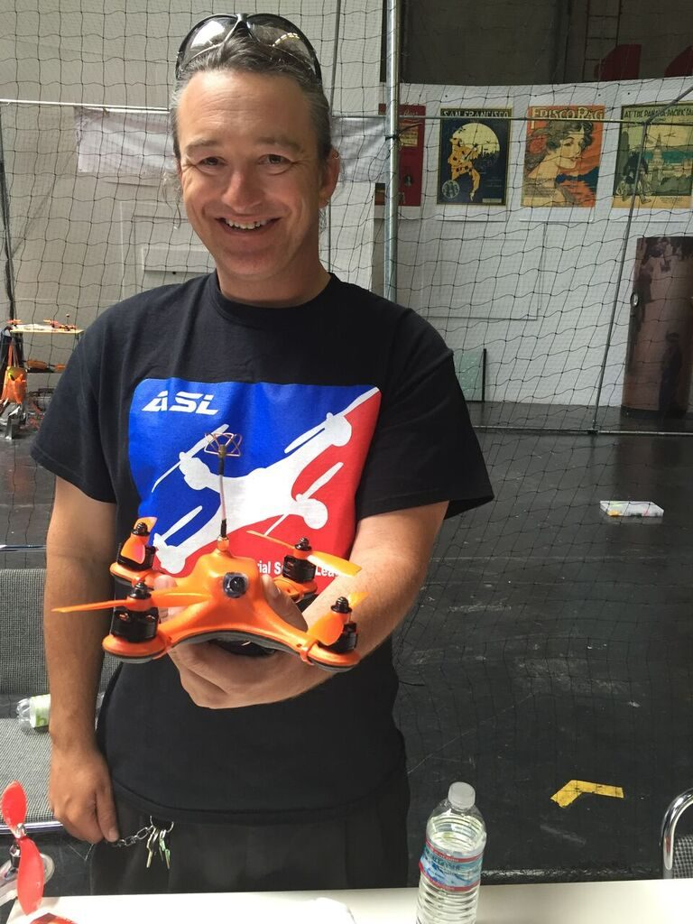 Reiner Von Weber, Technical Director for the Aerial Sports League, displays a drone that is used in drone racing. The sport of drone racing has become one of the primary factors driving the surge in demand for consumer drones, according to TechNewsWorld. This style of sport drone is sturdier than others than others that are used for aerial photography.
