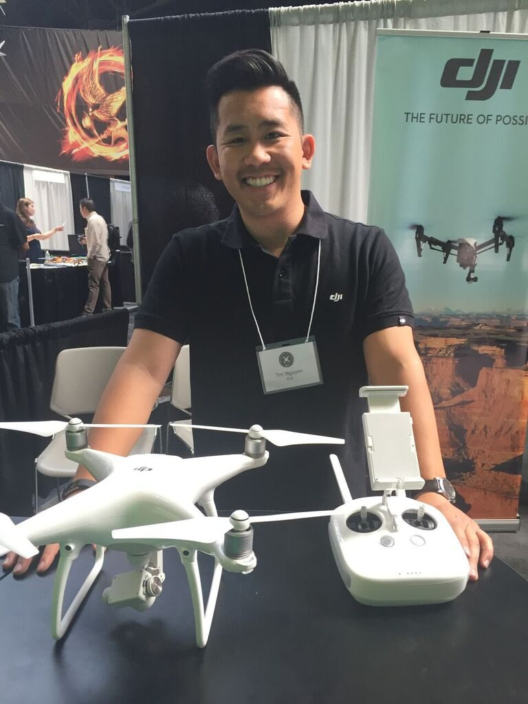 As the market leader in easy-to-fly drones and aerial photography systems, DJI quadcopters are the standard in consumer drone technology. Tim Nguyen of DJI showcased a Phantom model.