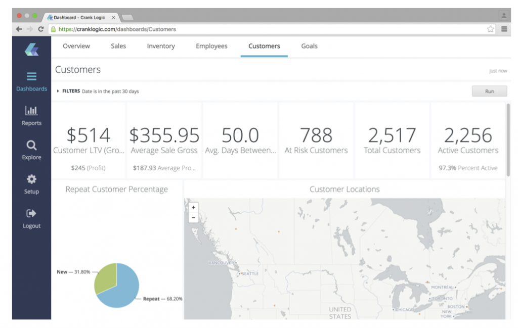 Here's a customer overview screen from CrankLogic's Data App.