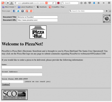 Back when SCO & Pizza Hut made headlines with PizzaNet