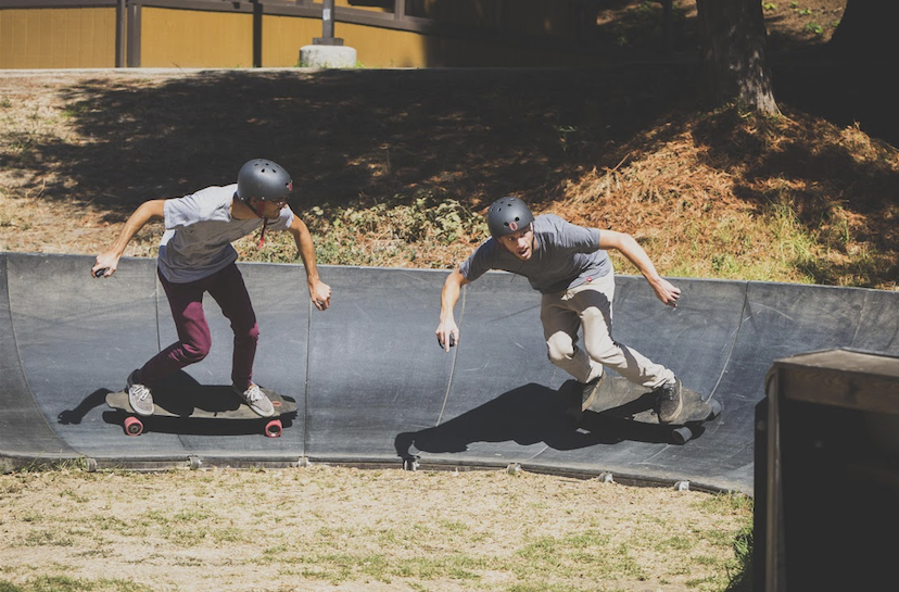 Inboard co-founder & CTO, Theo Cerboneschi and Electrical Engineer, Tony Sacharny, blow off some steam on their M1's at the pump track in Santa Cruz. (Credit: Nate Appel/Inboard)