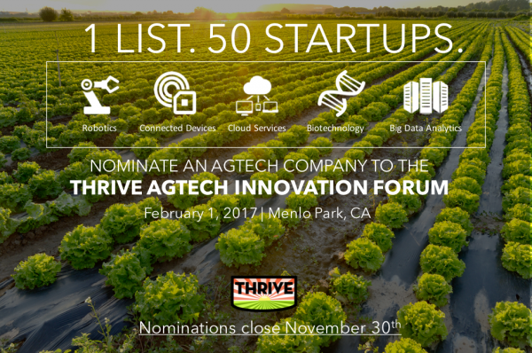 Nominations are now open for THRIVE AgTech Top 50