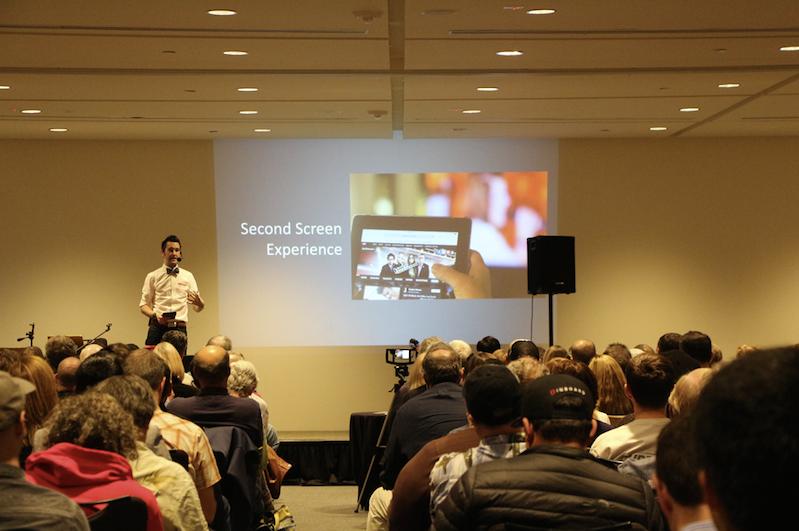Erik Mansur, with Nanigans, presented social media advertising concepts before Kawasaki's presentation.
