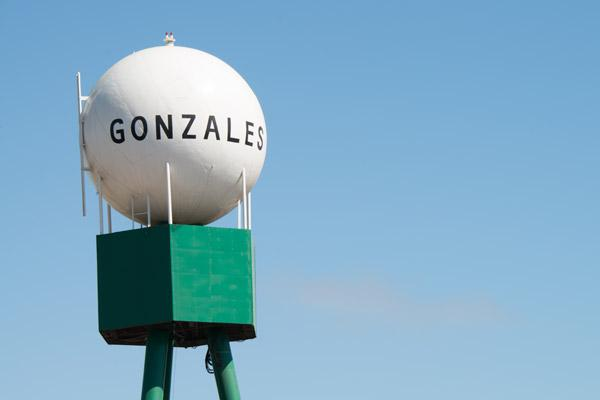 Photo of water tower in Gonzales with the word Gonzales written on it