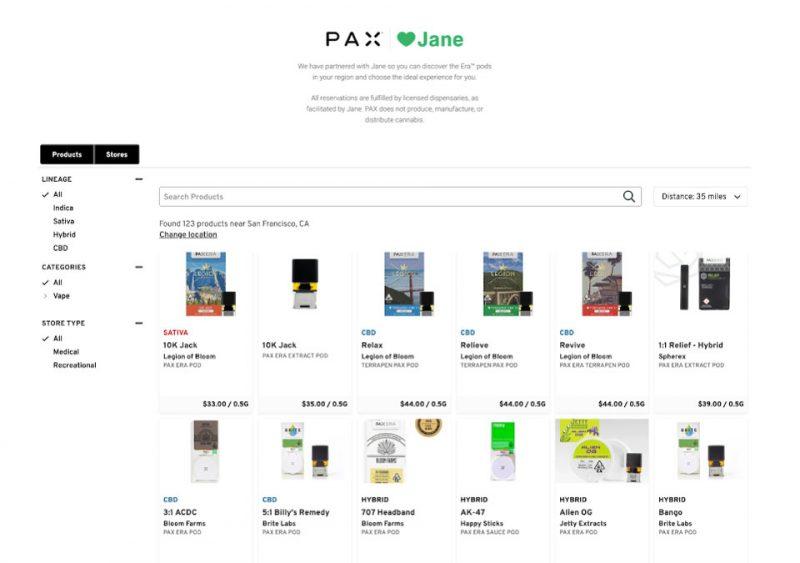 Screenshot of Jane Technologies brand portal for Pax