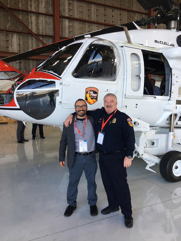 Parallel Flight Technologies CEO Joshua Resnick with Senior Chief of Aviation, CAL FIRE Dennis Brown