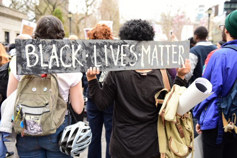 protest with Black Lives Matter sign