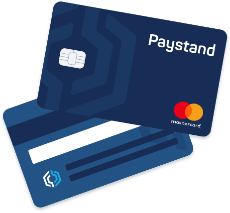 Illustration of blue Paystand e-payment card, with Paystand's logo and a mastercard symbol